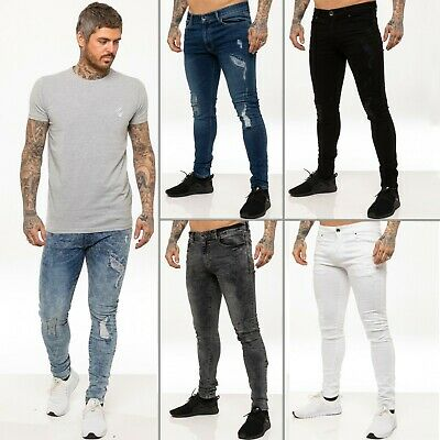 Enzo Mens Skinny Super Stretch Fit Ripped Jeans Destroyed Denim Pants  All Waist