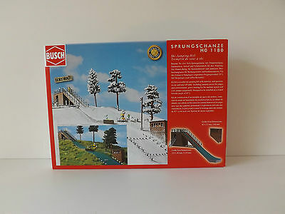 Busch 1180 Ski Jumphill With Real Etched Wood Buildings And Scenic Parts Kit