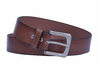 Mens Leather Belts 100% Leather Full Grain Formal Belt Handmade Brown 1.5'' Wide