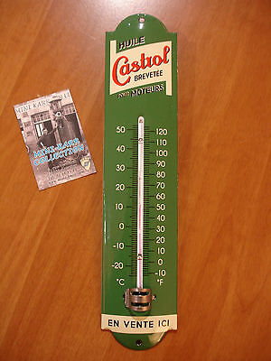 PLAQUE EMAILLEE thermometre HUILE CASTROL MOTEUR  ENAMEL TIN SIGN thermometer