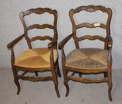Pair of Walnut Carved Louis XV style Country Arms Chairs with Rush Seats 1900's