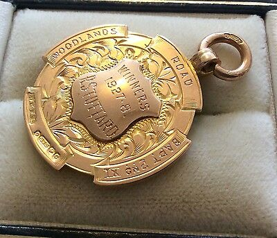 Good Antique Full Hallmarks 9ct Rose Gold Nelson Football Club Medal Fob Pendant