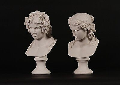 Dionysus and Companion Pair Classical Marble Bust Sculptures, gift, art ornament