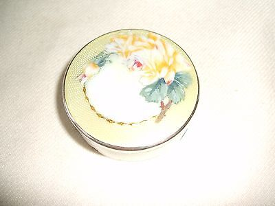 Lovely Antique Sterling Silver & painted Guilloche enamel box -London 1912