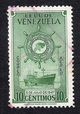 1948 Venezuela 10c ist Anniv of Greater Colombia Merchan SG 792 FINE USED R21292