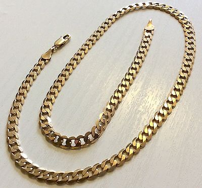 Superb Quality Heavy Vintage Solid 9ct Gold Curb Link Neck Chain - 18 Inch