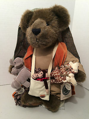 """Boyds Bear Plush Mr Noah & Friends 13"""" Teddy Bear With Tag And Stand #900100"""