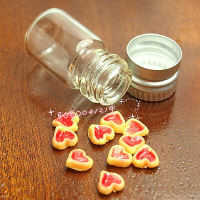 Dollhouse Miniature Food 1:12 Toy Glass Bottle Of Heart-Shaped Biscuit SPO064