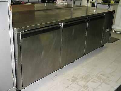 Large Commercial Counter Stainless Steel 3 Door Freezer from Restaurant