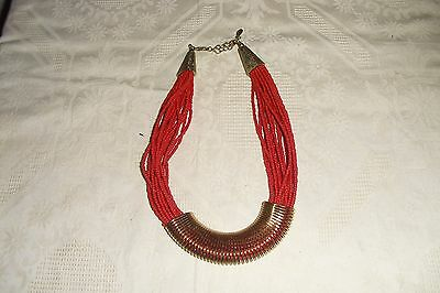 Vintage 20 Strand Red Coral Bead Necklace North African Tribal Ethnic Jewellery