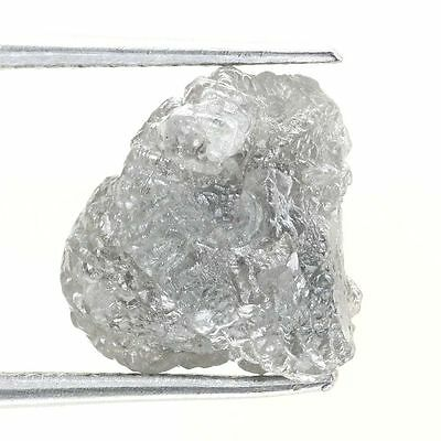 3.80 TCW Africn Natural Loose Rough Diamond Natural Shape Silver Gray Color