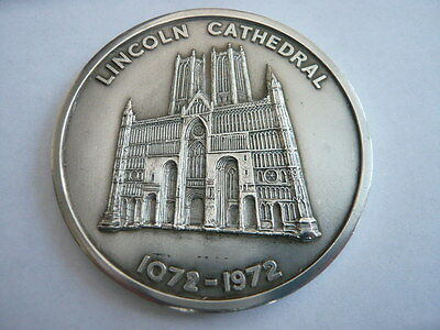Rare 1072 1972 Lincoln Cathedral Solid Sterling Silver 900 Year Medal Very Heavy