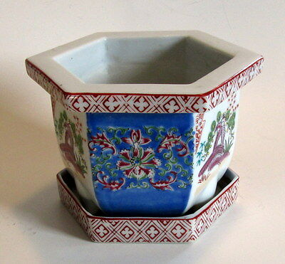 Vintage Japanese Porcelain Planter Pot Signed Floral w/Tray 6 Side Footed Bonsai