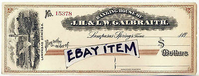 1890 Lampasas Texas GALBRAITH bank check MINERAL WATER Clarke Courts Galveston