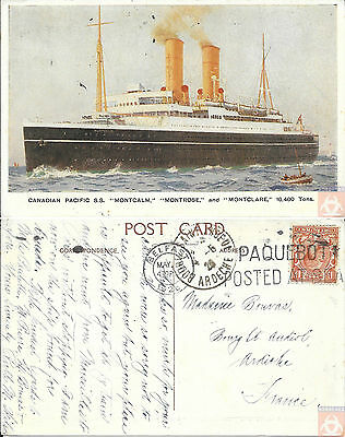 Angleterre - Carte Postale PAQUEBOT - MONTCALM - Posted at Sea 1926 - Belfast