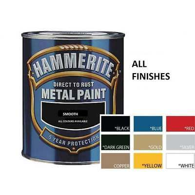HAMMERITE Direct To Rust Metal Paint 250ml | All Colours Hammered Smooth Satin