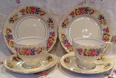 *vintage Royal Standard 'brussels Lace' Floral Bone China Cups Saucers Plates*