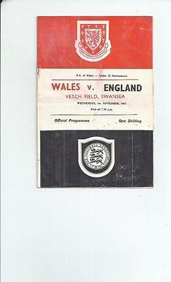 Wales v England U23 Football programme 1967 at Swansea