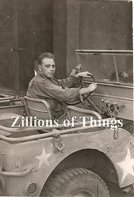 Original WWII Photo of Unknown Airman in Jeep