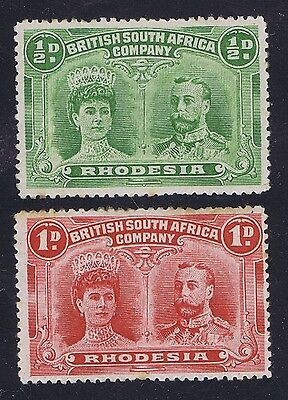 Rhodesia  KGV 1910 Double Head Issue 2 mint hinged stamps 1/2d Green +1d Red