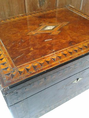 Antique writing slope box, walnut and mother of pearl, beautiful and restorable