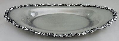 "Vintage Silver Plated Serving Oval Platter Tray 14"" Floral Rims"