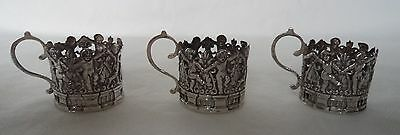 Set Antique 1908 Dancing Cherubs Solid / Sterling Silver Liqueur Cup Holders