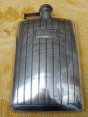 Vintage SOLID STERLING SILVER Newberry Crafters LARGE Hip Flask / 250 grams