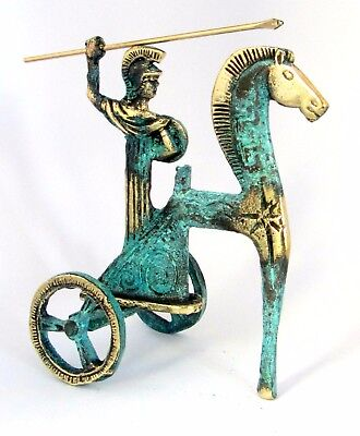 Ancient Greek Bronze Athena On Chariot Gold Green Oxidization 110