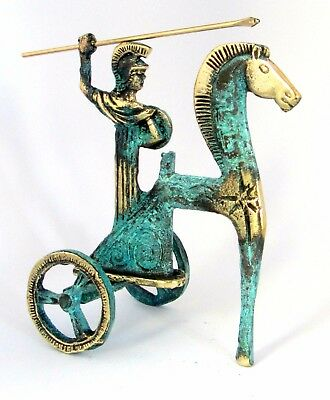Athena Ancient God on Chariot Gold Green Oxidization 110