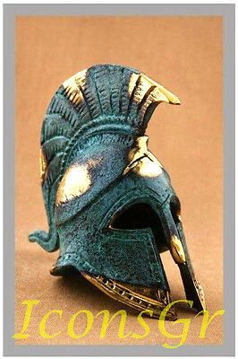 Ancient Greek Bronze Miniature Helmet Green Gold Oxidization 369