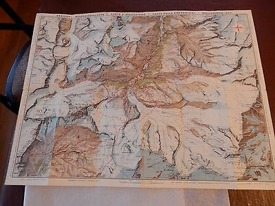 1950S Zermatt Swiss Switzerland  Map  Great Detail  Gift Potential