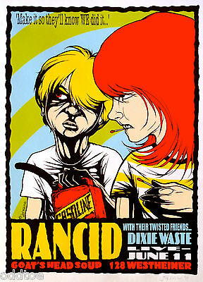 RANCID Poster Original CONCERT w/ DIXIE WASTE S/N by Jermaine Rogers