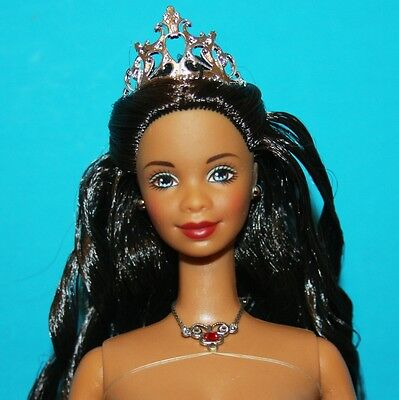 AA African American HOLIDAY Celebration Barbie NUDE with Tiara, Necklace & Stand