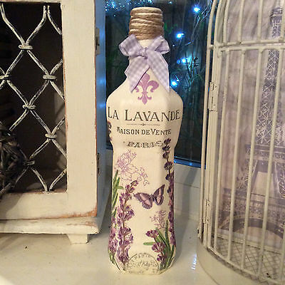 Shabby Chic Vintage French Lavender style Bottle / Candle holder (810/11)