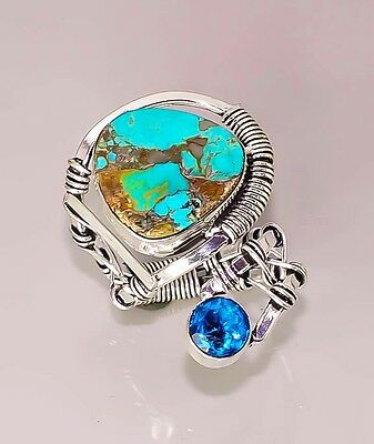K658 Kingarizona Turquoise Handcrafted Vintage.925 Sterling Silver Plated Ring 7