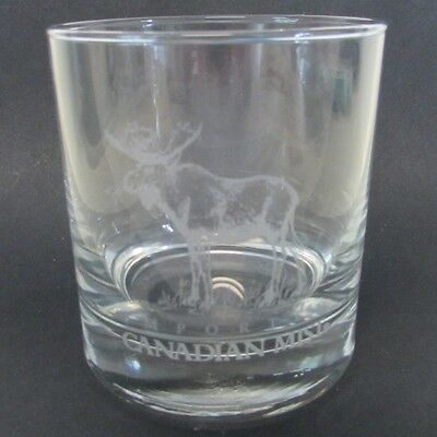 Canadian Mist Etched Elk Rock Glass Wildlife Series Moose Etch Whisky Whiskey
