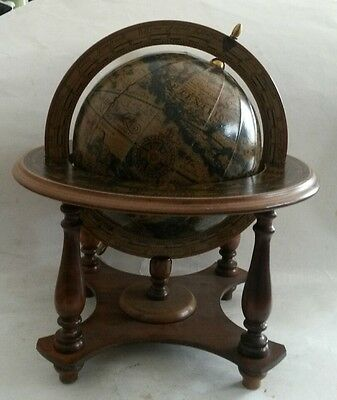Vintage Nora Fenton Table Top Zodiac Spinning Old World Globe Wooden Stand Italy