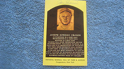 Joe Cronin autographed yellow curteichcolor HOF plaque postcard