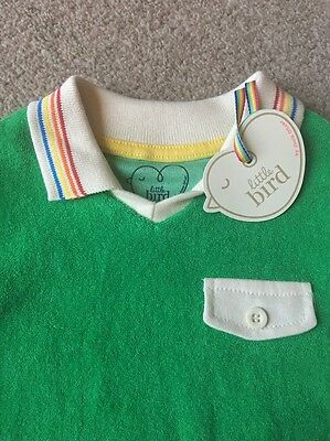 Little Bird By Jools Oliver Green Towelling Polo Shirt Rainbow Trim Baby 18-24