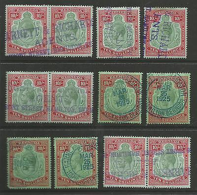 Bermuda  Selection Of 12 Gv 10/- Values Including 3 Pairs Fiscally Canceled