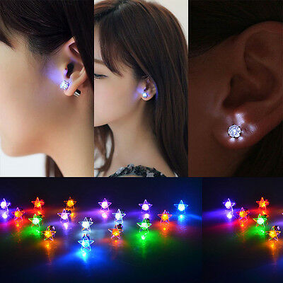 Pop LED Star Earrings Light Up Bling Ear Studs For Club KTV Wine Bar Party 1 Pcs