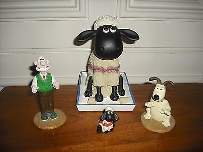 Wallace And Gromit Ceramic Figurines Shaun The Sheep Piggybank,and 3 Figurines