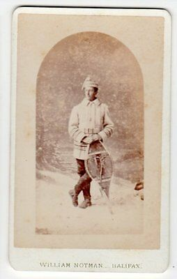 CDV Man in Snow Gear with Snow Shoes by Notman of Halifax Canada neg no 38609