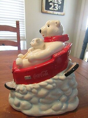 Coca Cola Polar Bear with cubs on sled cookie jar