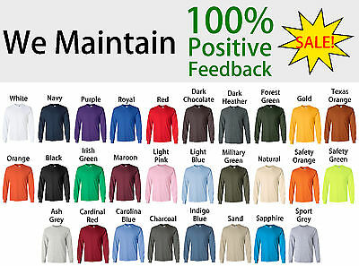 Gildan Ultra Cotton Mens Crew Neck Long Sleeve T Shirt 2400 LOWEST PRICE ON EBAY