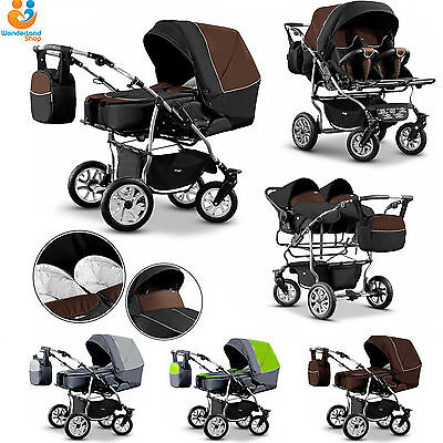 Twin Pram 3in1 Pushchair Double Buggy Twins +Car seats + 21COLOURS