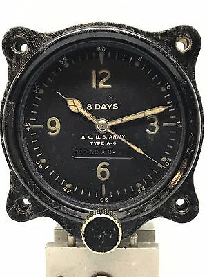 Vintage Wittnauer A-6 Aircraft Clock 8 Day Military Army Air Corps Serviced**
