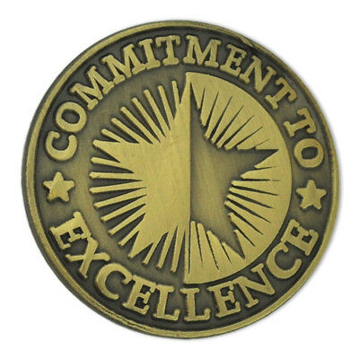 PinMart's Antique Bronze Commitment To Excellence Round Corporate Lapel Pin