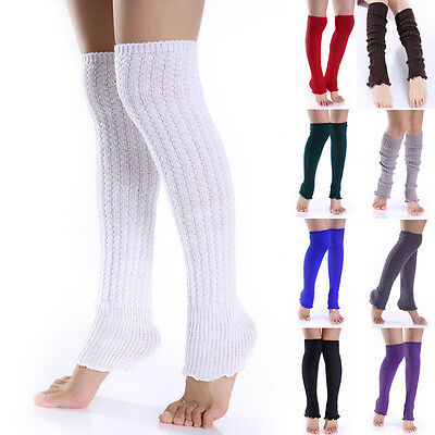 Winter Warm Women Knit Crochet Long Socks Leg Warmer Thigh-High Boot Socks White